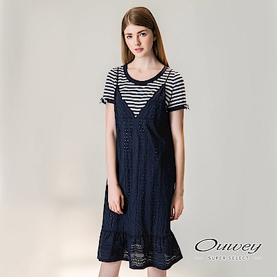 OUWEY歐薇 時尚條紋兩件式長版洋裝(藍)