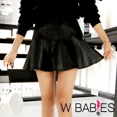 正韓 高腰立體縫線皮質短裙褲 (黑色)-W BABIES