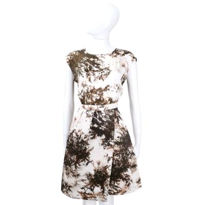 MARELLA 米咖色墨畫渲染圖印短袖洋裝