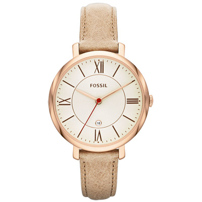 FOSSIL 羅馬假期日期時尚皮帶腕錶-銀x卡其/36mm
