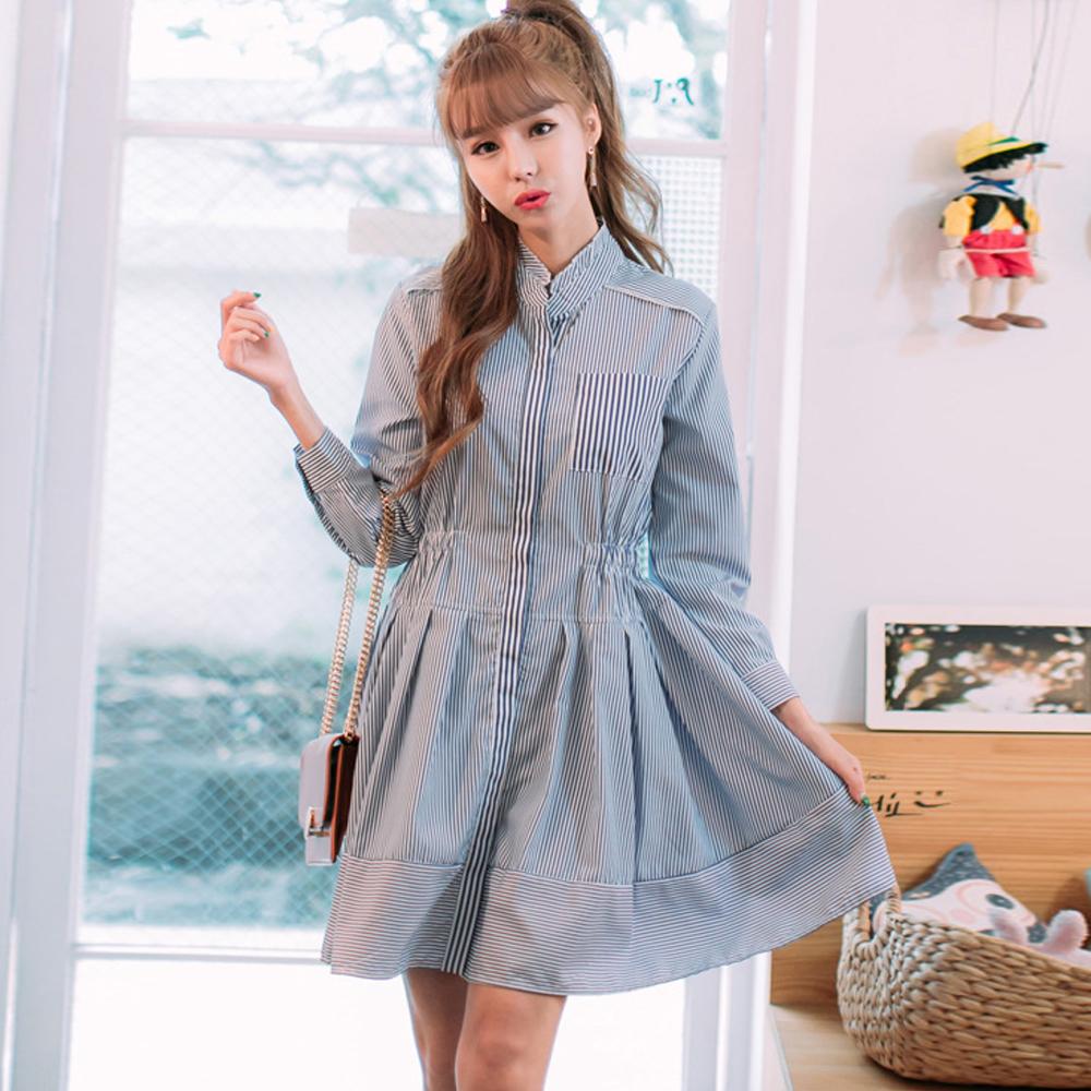 條紋波浪裙長袖襯衫洋裝(條紋色)-Kugi Girl