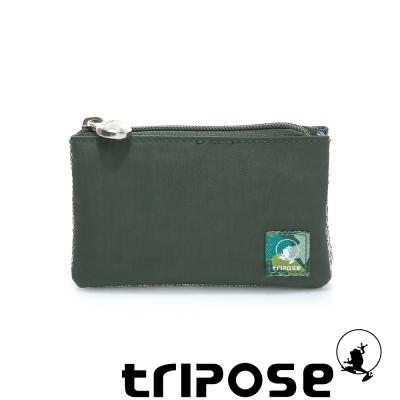 tripose 漫遊系列岩紋簡約微旅萬用零錢包 深綠