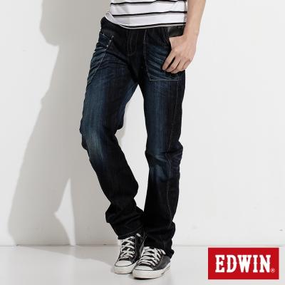 EDWIN 加大碼E-FUNCTION窄直筒牛仔褲-男-原藍磨