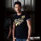 BIG TRAIN 貼布繡金漿文字圓領T-男-黑色