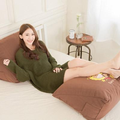 【奶油獅】正版授權-100%台灣製造 加厚貼布鏽 彩虹牛仔布套可拆三角靠墊/美腿枕(二入)