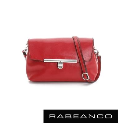 RABEANCO-迷時尚系列經典轉扣撞色斜背包-紅