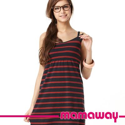 【Mamaway】條紋BRA TOP孕哺洋裝 (共三色)