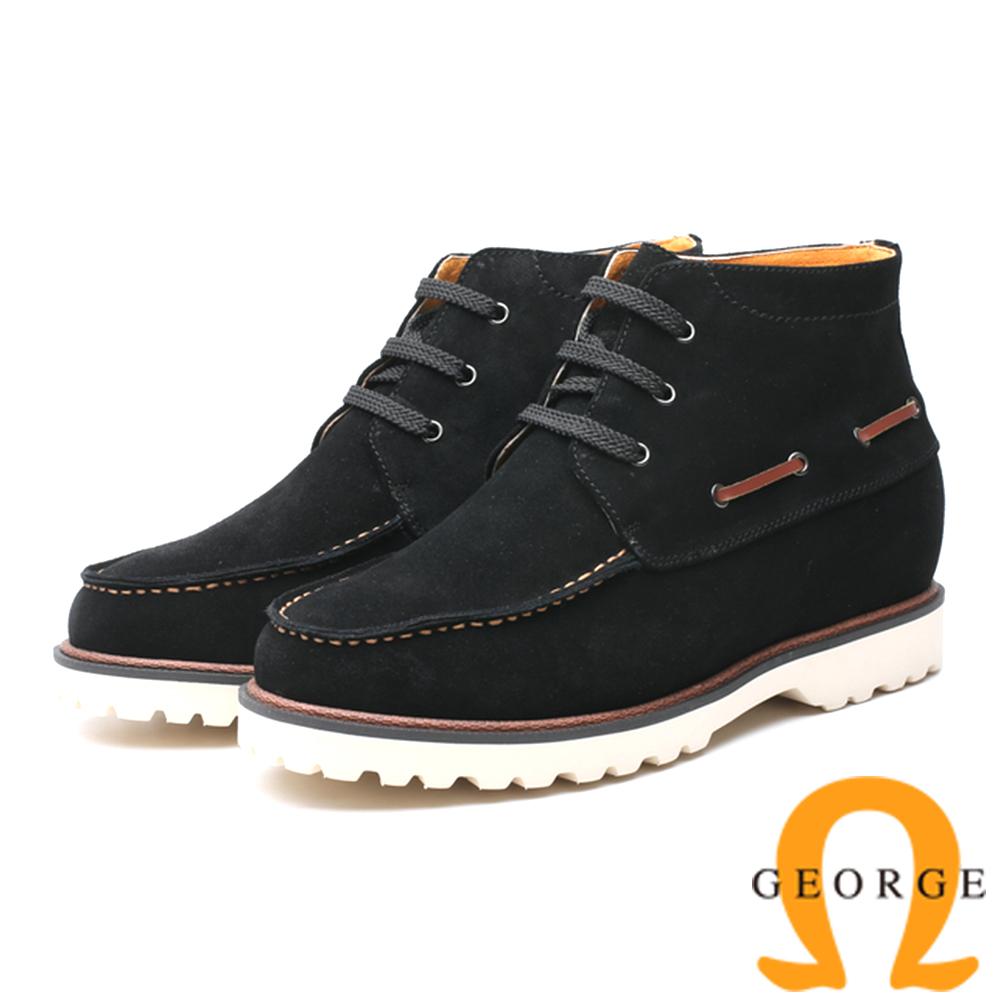 GEORGE 喬治-內增高系列 抽繩高筒休閒鞋 男鞋 -黑