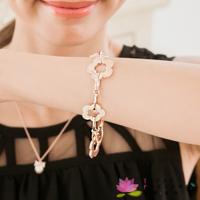微醺禮物 鍍K金 金色與貝殼質感 小花 手鍊