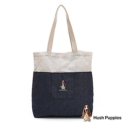Hush Puppies 粉彩拼接帆布袋-灰藍