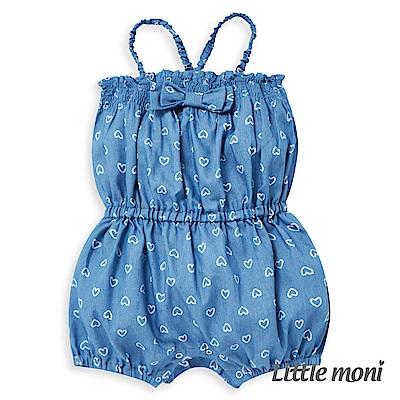 Little moni 印花丹寧牛仔連身褲 (2色可選)