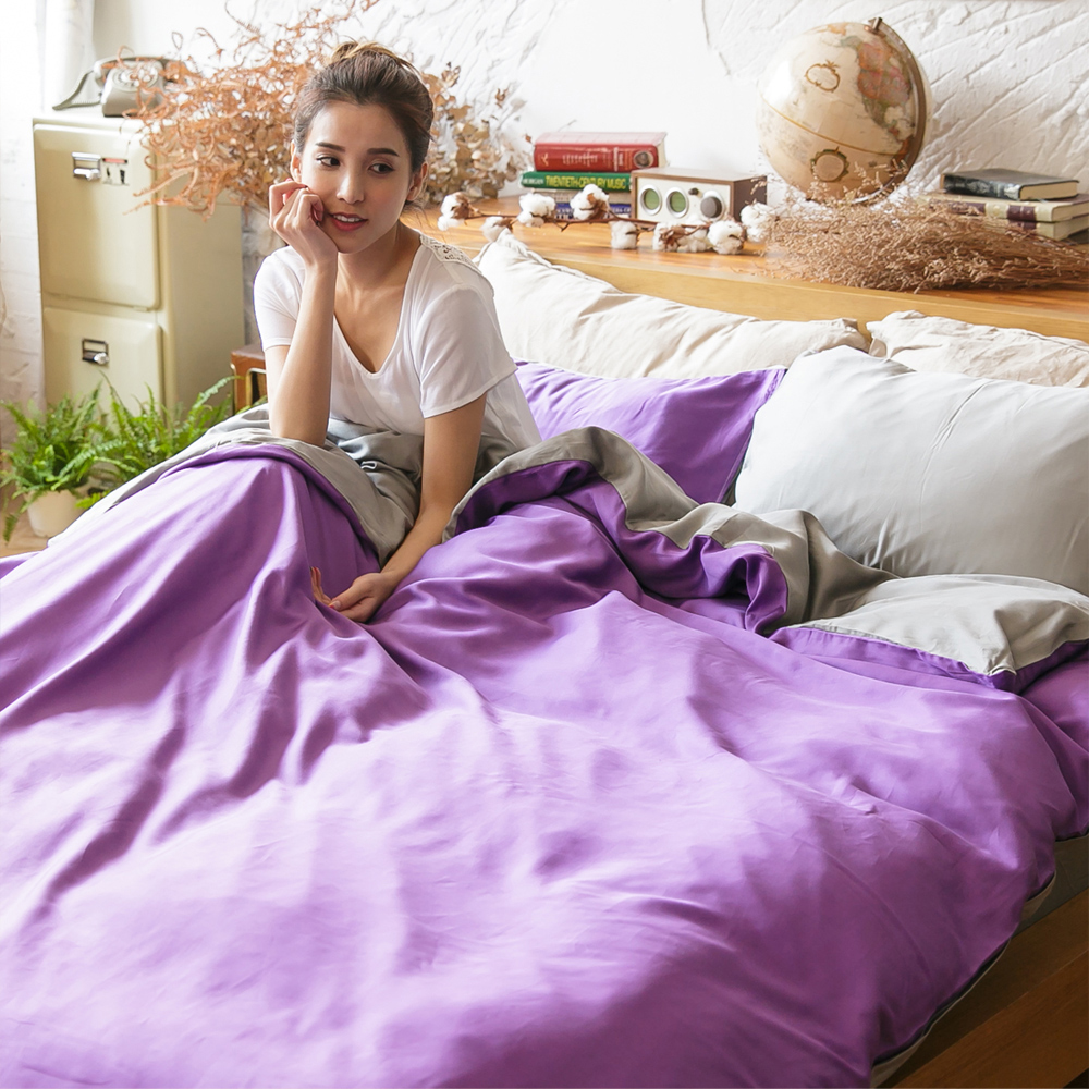 梵蒂尼Famttini-經典紫情 頂級撞色天絲萊賽爾單人被套床包組