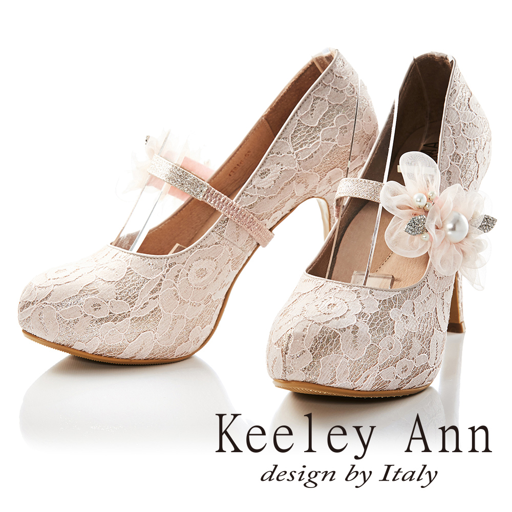 Keeley Ann蕾絲珍珠鑽花可拆式腳背帶真皮軟墊新娘高跟鞋(淺粉色-Ann)