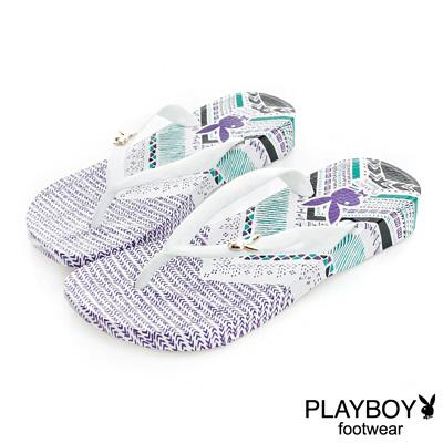 PLAYBOY混搭經典 民族風圖樣夾腳拖鞋-白紫(女)