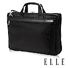 ELLE HOMME 紳士皮革14吋公事包單拉鍊風琴雙層置物款- 黑色EL74164A