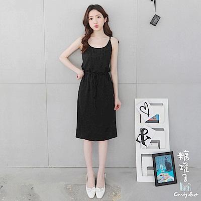 糖罐子-韓品 金蔥點點綁帶縮腰口袋連身裙(黑)