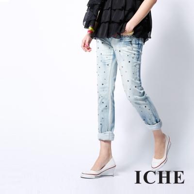 ICHE-衣哲-立體釘珠寶石單寧牛仔褲
