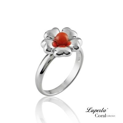 大東山珠寶 全紅珊瑚純銀戒指 花開富貴