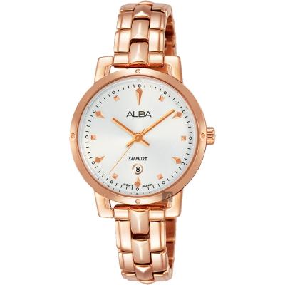 ALBA雅柏 優雅甜心風采女錶(AH7P80X1)-銀x玫塊金/30mm