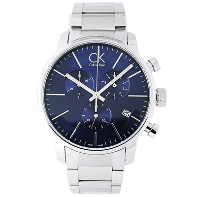CK Calvin Klein 沁藍三眼時尚男性手錶(K2G2714N)-藍面/43mm