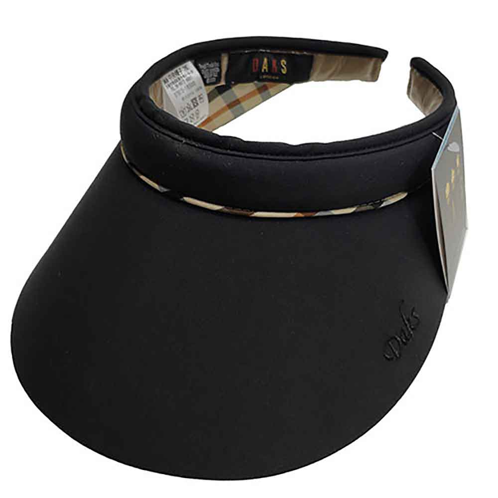 DAKS 經典字母刺繡LOGO格紋頭圍滾邊造型遮陽帽(黑色系)