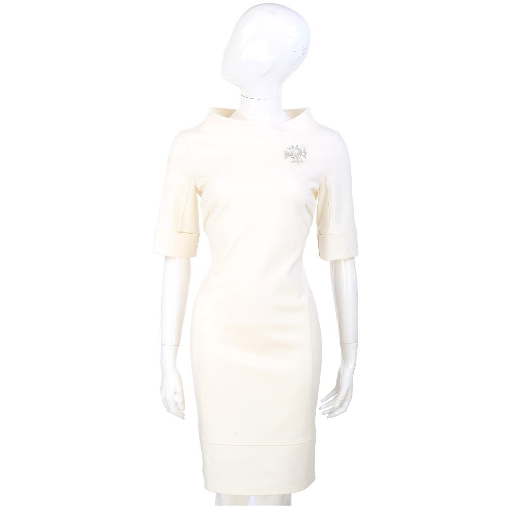 BLUGIRL 鑽飾造型設計五分袖洋裝(米白色)