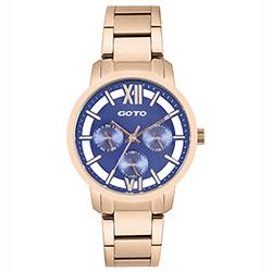 GOTO LINK系列裸空三眼精品時尚手錶-IP玫x藍/37mm