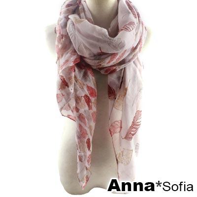 AnnaSofia 霓彩羽葉 巴黎紗披肩圍巾(紅系)