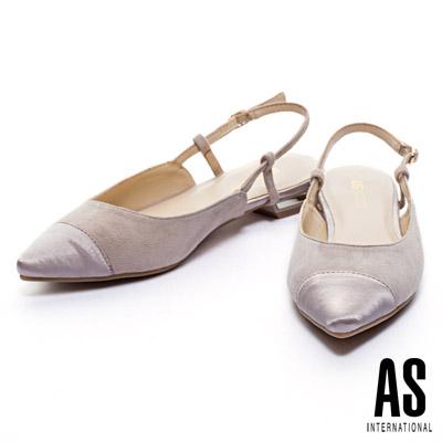 跟鞋 AS 優雅異材質後跟鏤空麂皮尖頭低跟鞋-米