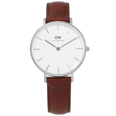 Daniel Wellington Classic 經典真皮手錶-白x咖啡/32mm