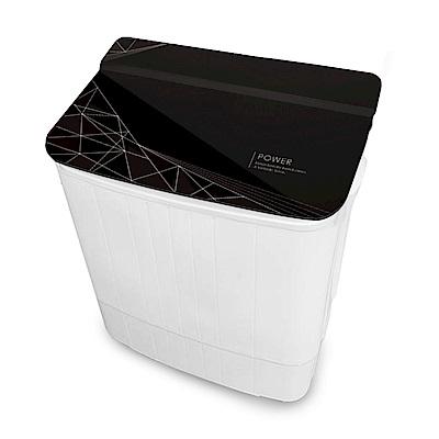 EDISON 愛迪生-3.5KG花紋強化玻璃上蓋洗脫雙槽迷你洗衣機-時尚黑