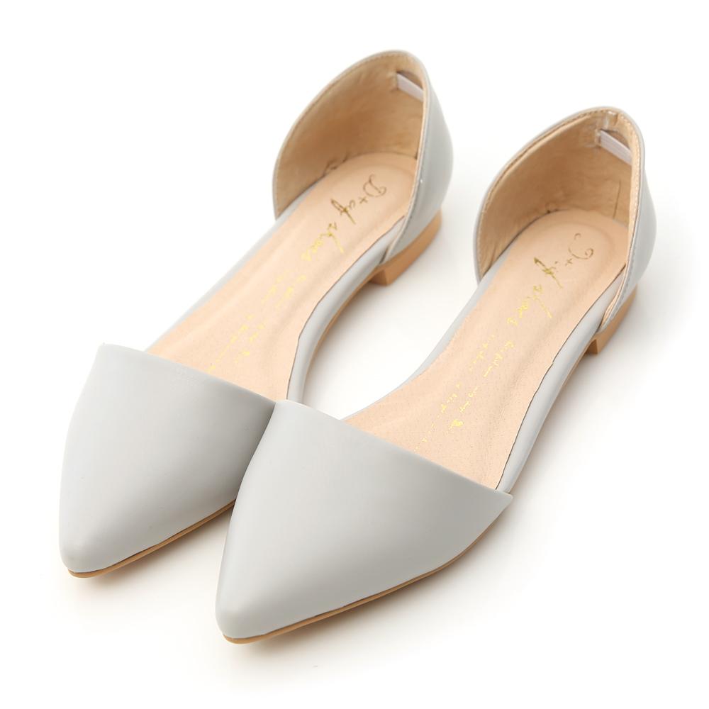 D+AF 優雅品味‧素面尖頭側挖空平底鞋*灰
