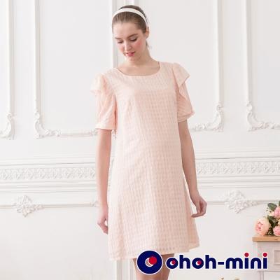 【ohoh-mini 孕婦裝】甜姐兒透視波浪袖雪紡洋裝(兩色)