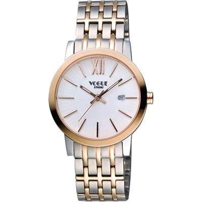 VOGUE 尊爵時尚羅馬女錶-白x雙色版/32mm