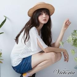 Victoria 蕾絲雪紡拼接寬鬆短袖T-女-白色