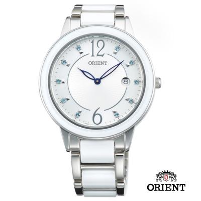 ORIENT 東方錶 DRESS系列 簡約晶鑽陶瓷女錶-白色/41mm