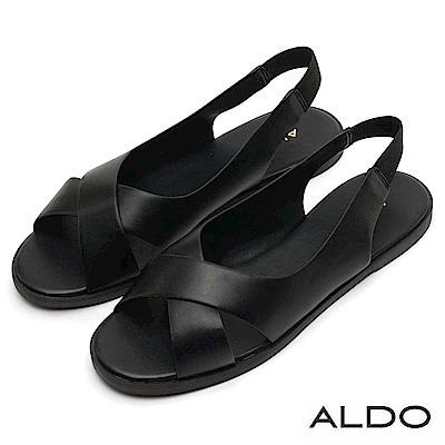 ALDO 原色寬版交叉鏤空魚口鬆緊拉帶式涼鞋~尊爵黑色