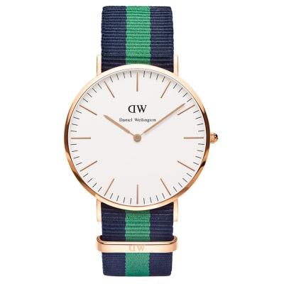 Daniel Wellington Warwick時尚男錶-玫瑰金框x藍綠藍錶帶/40mm