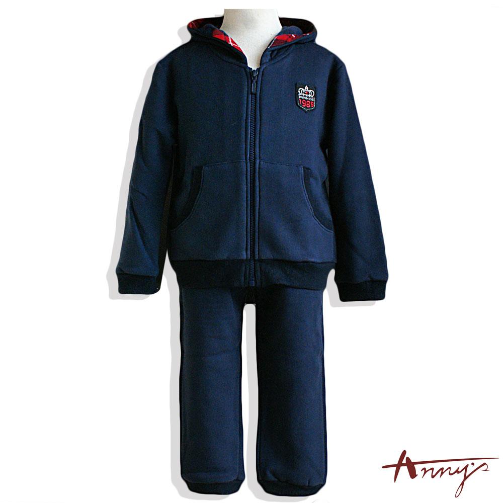 Anny1989休閒厚棉格紋邊壓紋套裝*4495藍