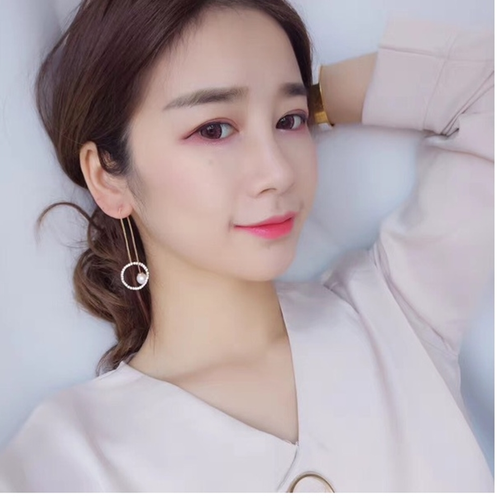 梨花HaNA韓國輕熟女人氣息細鑲水鑽圓環耳線耳環