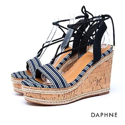 達芙妮DAPHNE 涼鞋-一字綁帶草編楔型涼鞋-藍
