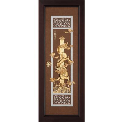 開運陶源 金箔畫 純金 *古典中國風系列*【金龍聚寶】...38x102cm