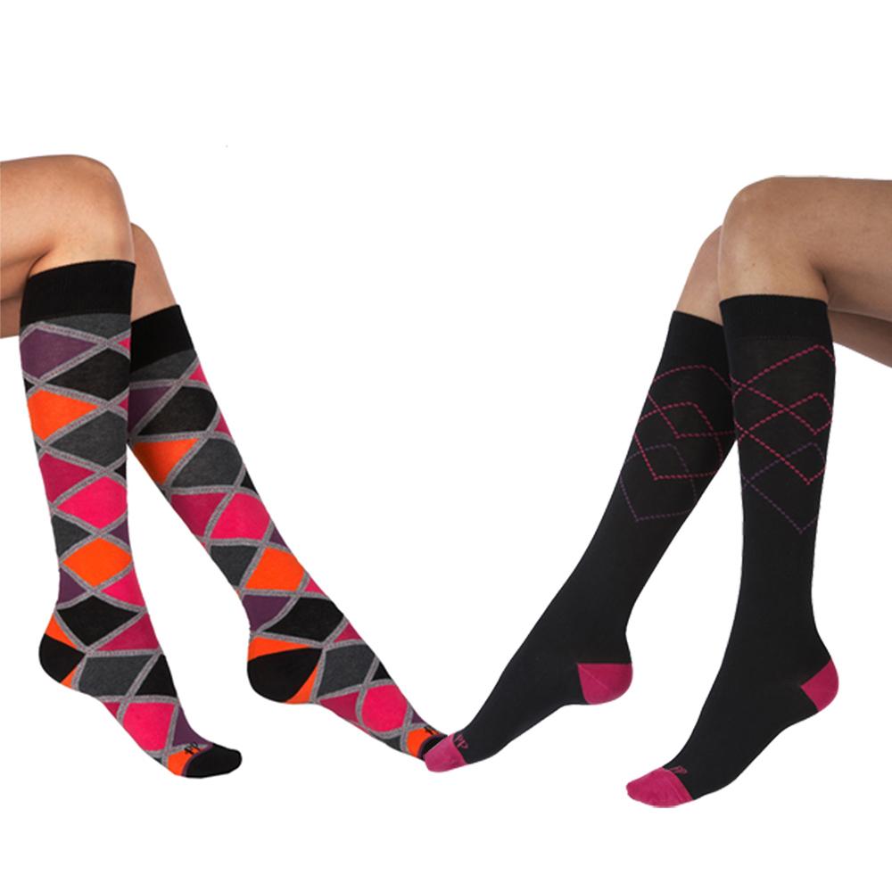 摩達客英國Pretty Polly時尚虛線學院格紋彈性棉襪及膝高筒襪超值組 一組兩雙不同款