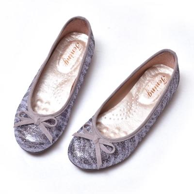 Ameber-優雅蝴蝶結厚乳膠平底鞋芭蕾款-亮片藍