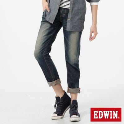 EDWIN俏皮男孩MISS BT袋蓋B.F牛仔褲-女款-拔洗藍
