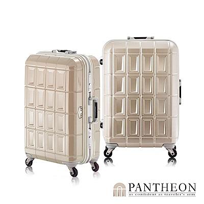 日本PANTHEON 26吋 霧面香檳金拉絲  網美行李箱 輕量鋁框登機箱