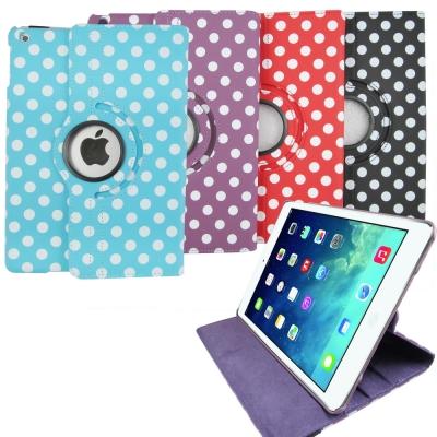 DW-L64波點旋轉款iPad Air(iPad5)平板皮套(加贈螢幕保護貼)