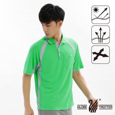 【遊遍天下】MIT台灣製男款吸濕排汗抗UV機能POLO衫S019綠色