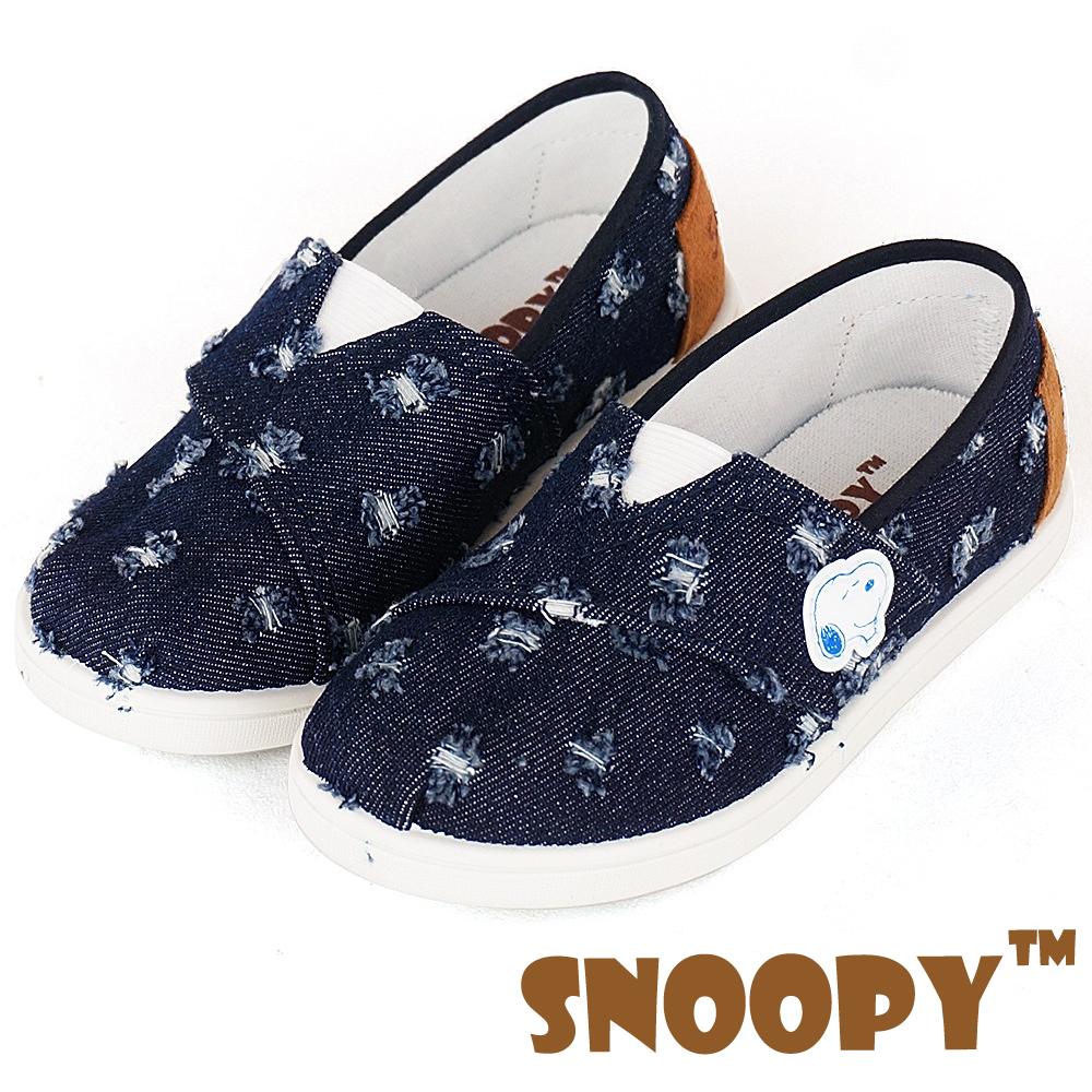 Snoopy史努比 牛仔布輕量減壓休閒懶人童鞋-藍(中大童)