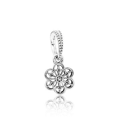 Pandora 潘朵拉 花邊鏤空雛菊 垂墜純銀墜飾 串珠
